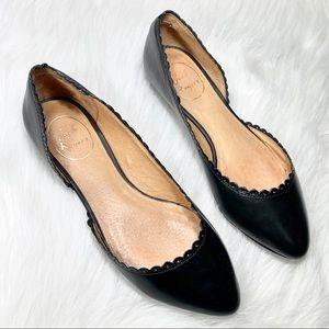 Jack Rogers Leather Scalloped Black Ballet Flats